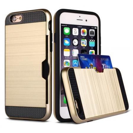 Brushed Armor Hybrid Card Slot Shockproof Dual Layer Protective Case for iPhone 6/6S - Gold