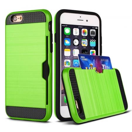 Brushed Armor Hybrid Card Slot Shockproof Dual Layer Protective Case for iPhone 6/6S - Green
