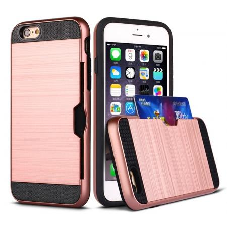 Brushed Armor Hybrid Card Slot Shockproof Dual Layer Protective Case for iPhone 6/6S - Rose Gold