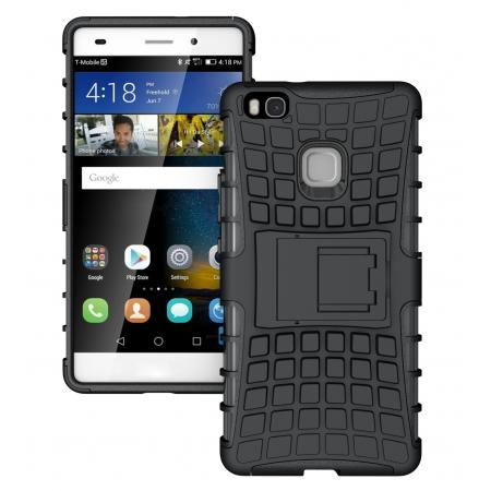 Heavy Duty Armor Rugged Dual Layer Hybrid Shockproof Protective Case For Huawei P9 Lite - Black