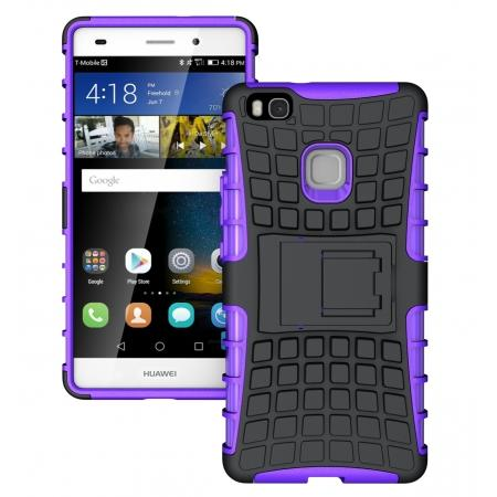 Heavy Duty Armor Rugged Dual Layer Hybrid Shockproof Protective Case For Huawei P9 Lite - Purple