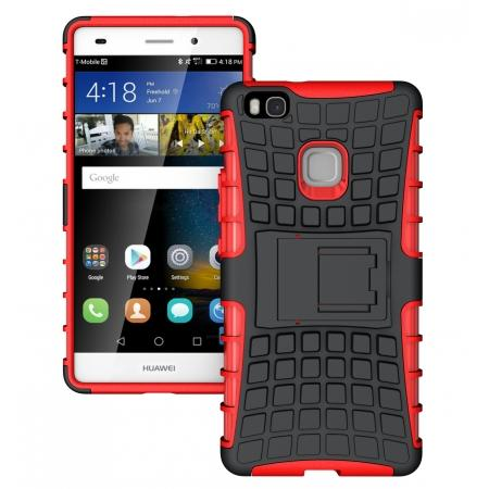 Heavy Duty Armor Rugged Dual Layer Hybrid Shockproof Protective Case For Huawei P9 Lite - Red