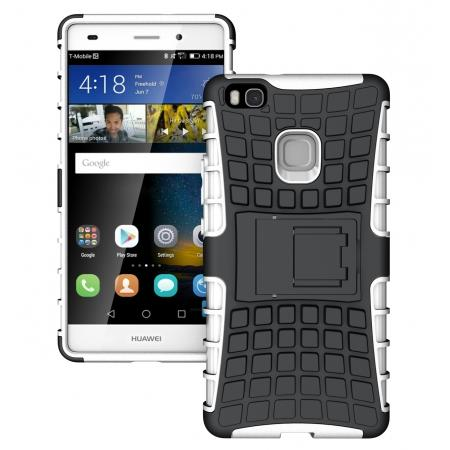 san francisco ec192 e086b Heavy Duty Armor Rugged Dual Layer Hybrid Shockproof Protective Case For  Huawei P9 Lite - White
