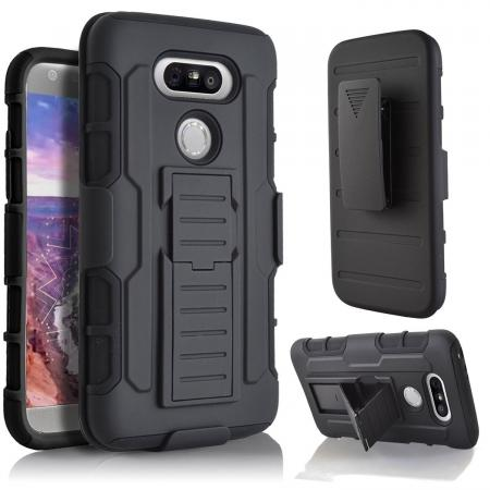 Heavy Duty Rugged Armor Shockproof Case Cover w/ Belt Clip Holster for LG G5 - Black