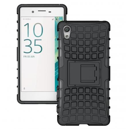 Hybrid Shockproof Rugged Dual Layer Protective Case with Kickstand For Sony Xperia XA - Black