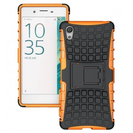 Hybrid Shockproof Rugged Dual Layer Protective Case with Kickstand For Sony Xperia XA - Orange