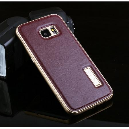 big sale 979a8 fea8d Luxury All Metal Aluminum Case + Genuine Leather Back Cover For Samsung  Galaxy S7 Edge - Gold&Wine red