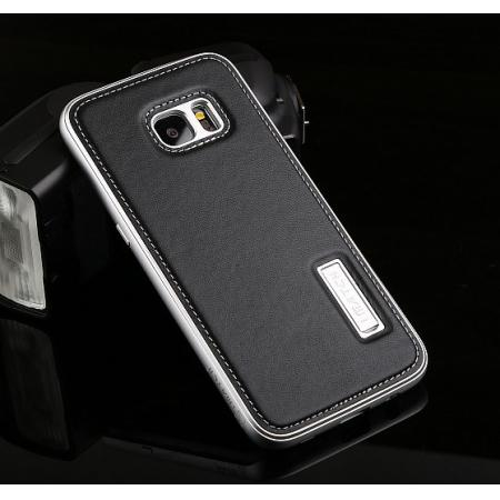 Luxury All Metal Aluminum Case + Genuine Leather Back Cover For Samsung Galaxy S7 Edge - Silver&Black