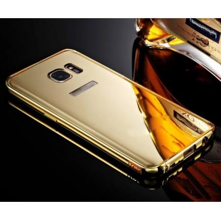 Luxury Aluminum Metal Bumper Frame +Mirror Back Case Cover for Samsung Galaxy S7 - Gold