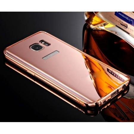 Luxury Aluminum Metal Bumper Frame +Mirror Back Case Cover for Samsung Galaxy S7 - Rose glod