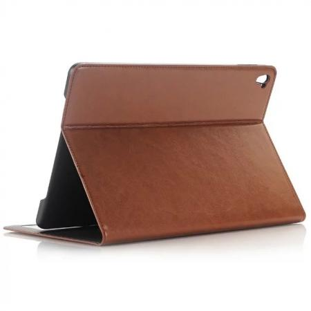 Oil Wax Crazy Horse Pattern Card Slot Wallet PU Leather Case for 9.7-inch iPad Pro - Brown