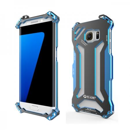 Original R-JUST Aluminum Metal Shockproof Frame Case For Samsung Galaxy S7 Edge - Blue