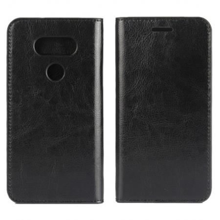 Vintage Luxury Crazy Horse Flip Cover Genuine Leather Case Wallet for LG G5 - Black
