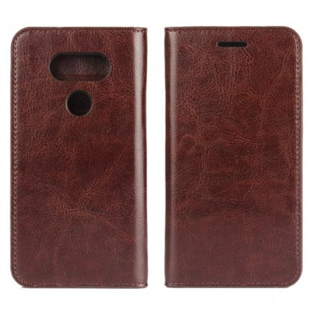 Vintage Luxury Crazy Horse Flip Cover Genuine Leather Case Wallet for LG G5 - Coffee