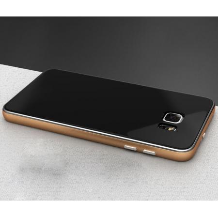 Luxury Aluminum Metal Bumper With Tempered Glass Rear Cover for Samsung Galaxy Note 5 - Gold&Black