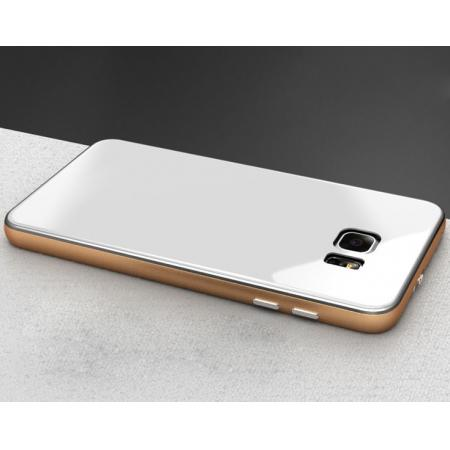 Luxury Aluminum Metal Bumper With Tempered Glass Rear Cover for Samsung Galaxy Note 5 - Gold&White