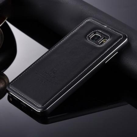 more photos 44647 e1468 Luxury Aluminum Metal Case + Genuine Leather Case Cover For Samsung Galaxy  Note 5 - Black