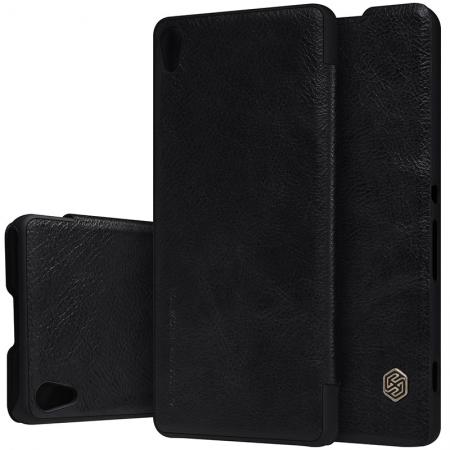 Nillkin Qin Series PU Leather Flip Case PC Back Cover For Sony Xperia XA - Black