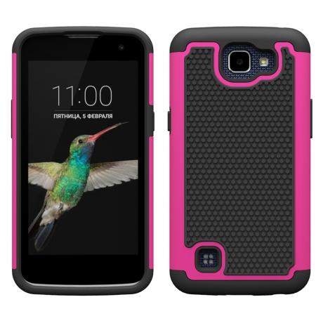 Rugged Hybrid Dual Layer Armor Defender Shockproof Protective Case For LG K4 - Hot pink