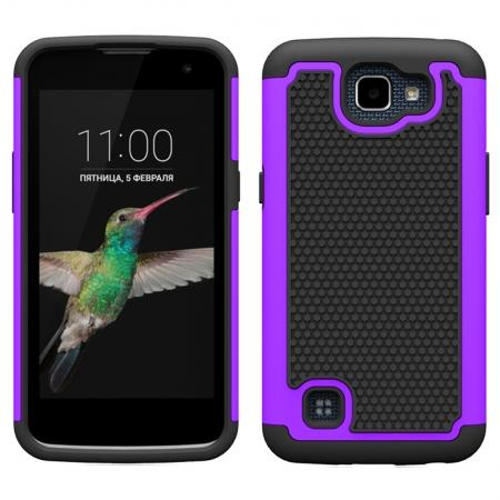 Rugged Hybrid Dual Layer Armor Defender Shockproof Protective Case For LG K4 - Purple