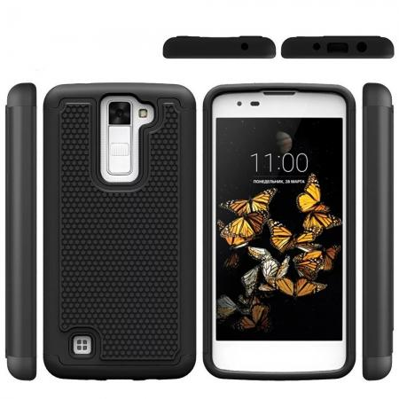 Rugged Hybrid Dual Layer Armor Defender Shockproof Protective Case For LG K8 - Black