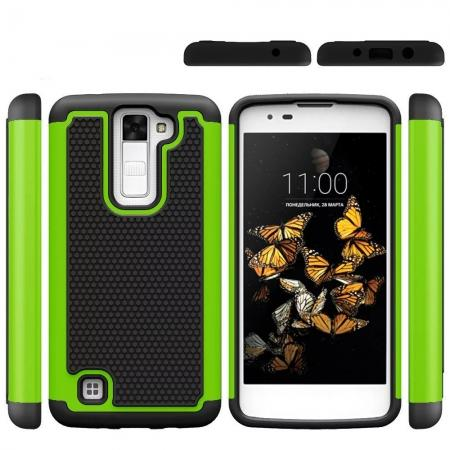 Rugged Hybrid Dual Layer Armor Defender Shockproof Protective Case For LG K8 - Green&Black