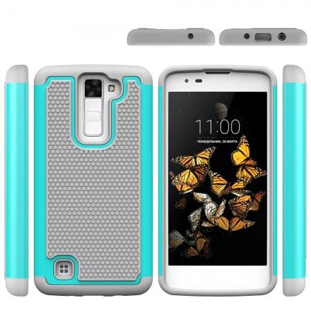 Rugged Hybrid Dual Layer Armor Defender Shockproof Protective Case For LG K8 - Teal&Gray