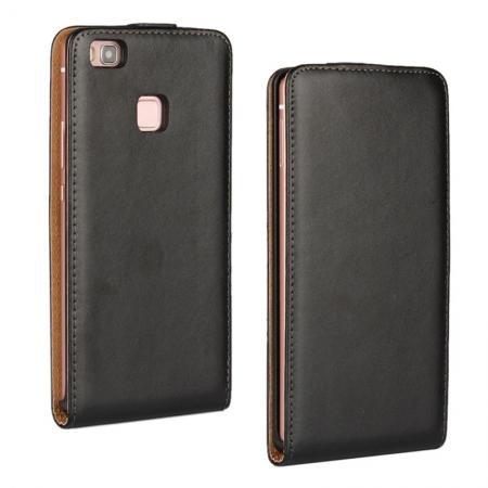 Vertical Magnetic Close Genuine Real Leather Flip Case for Huawei P9 Lite - Black