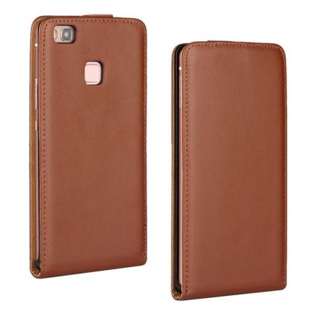 Vertical Magnetic Close Genuine Real Leather Flip Case for Huawei P9 Lite - Brown