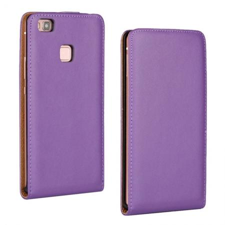 Vertical Magnetic Close Genuine Real Leather Flip Case for Huawei P9 Lite - Purple