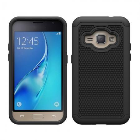 Hybrid Shockproof Rubber Protective Cover Case For Samsung Galaxy J1 Luna 2016 - Black