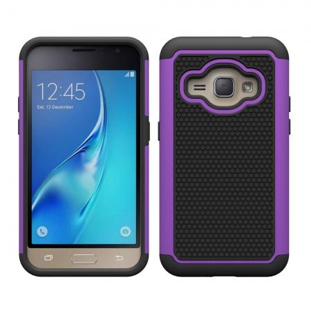 Hybrid Shockproof Rubber Protective Cover Case For Samsung Galaxy J1 Luna 2016 - Purple