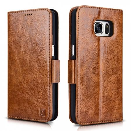ICARER Oil Wax Genuine Leather Detachable 2 in 1 Wallet Folio Case For Samsung Galaxy S7 - Brown