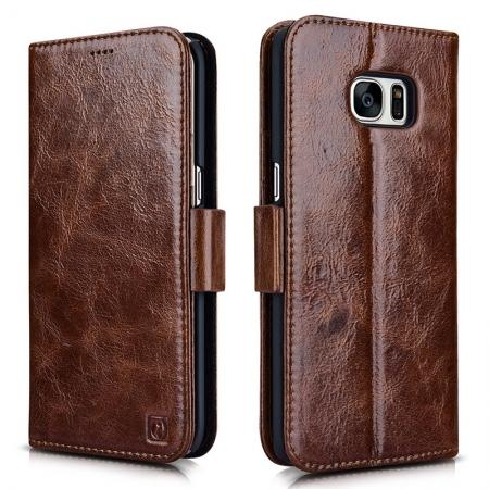 ICARER Oil Wax Genuine Leather Detachable 2 in 1 Wallet Stand Case For Samsung Galaxy S7 Edge - Coffee