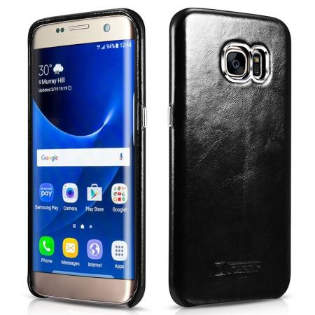 ICARER Vintage Genuine Leather Back Slim Cover Case for Samsung Galaxy S7 Edge - Black