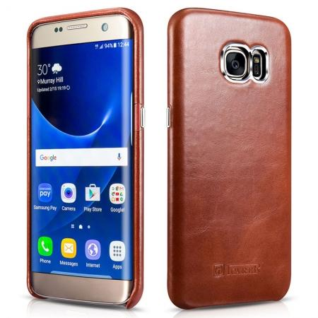 ICARER Vintage Genuine Leather Back Slim Cover Case for Samsung Galaxy S7 Edge - Brown