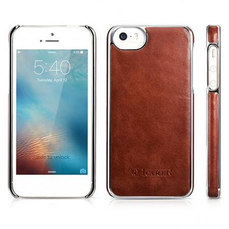 ICARER Vintage Genuine Leather Electroplating Back Case Cover For iPhone 5/5S/SE - Brown