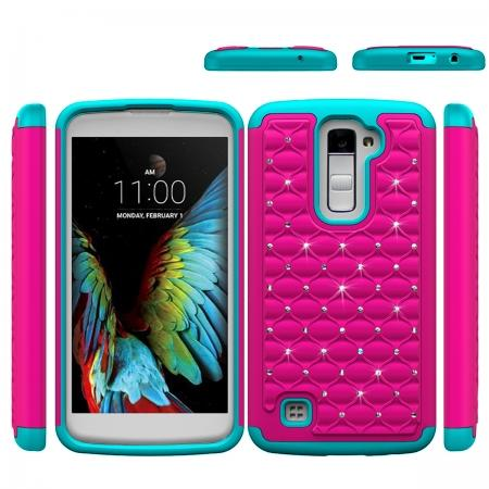 Luxury Bling Crystal Rugged Rubber Heavy Duty Hybrid Case Cover For LG K10 - Hot pink&Cyan