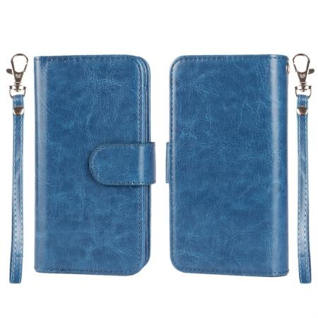 Multifunction Magnetic Flip PU Leather Wallet Case for iPhone 6S/6 4.7Inch with 9 card holders - Dark Blue