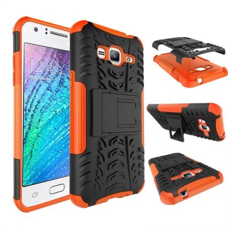 Shockproof Dual Layer Hybrid Stand Cover Case For Samsung Galaxy Express Prime - Orange