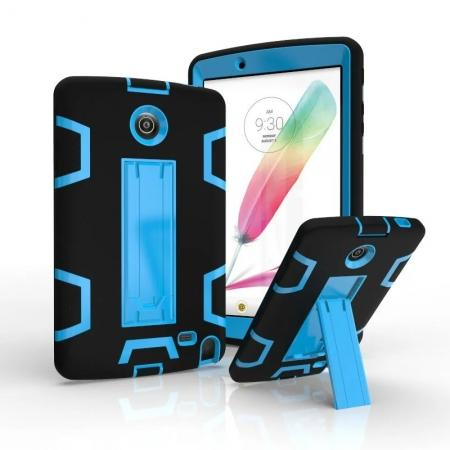 Shockproof Hybrid Armor Kickstand Case Cover For LG G Pad F 8.0 V498/ G Pad 2 8.0 - Black&Blue