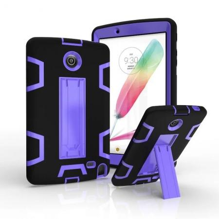 Shockproof Hybrid Armor Kickstand Case Cover For LG G Pad F 8.0 V498/ G Pad 2 8.0 - Black&Purple