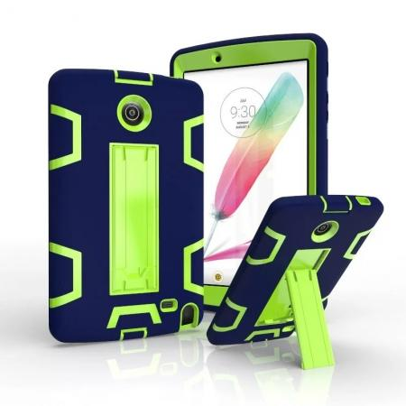 Shockproof Hybrid Armor Kickstand Case Cover For LG G Pad F 8.0 V498/ G Pad 2 8.0 - Navy blue&Green