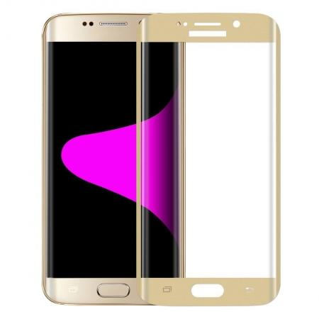 3D Curved Edge Tempered Glass Screen Protector For Samsung Galaxy S6 Edge Plus G928A - Gold