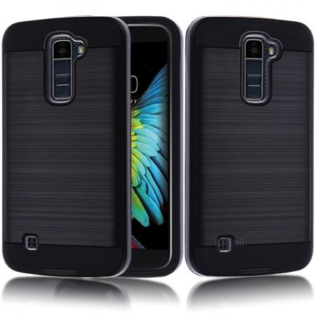 Brushed Texture Hybrid Dual Layer Slim Protector Case for LG K10 / Premier LTE - Black