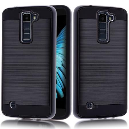 Dual Layer Slim Brushed Metal Texture Armor Shockproof Case for LG K8 / Escape 3 - Black