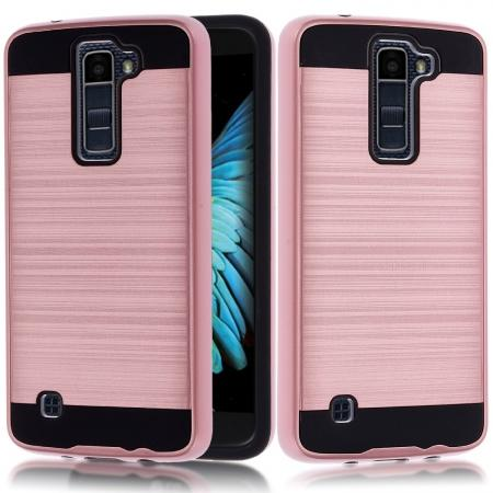Dual Layer Slim Brushed Metal Texture Armor Shockproof Case for LG K8 / Escape 3 - Rose gold