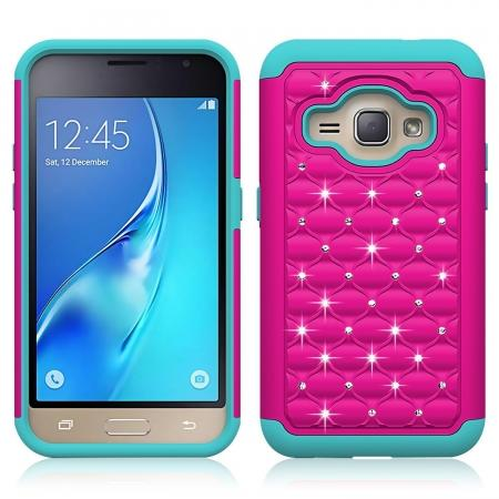 Hybrid Armor Dual Layer Diamond Protective Case for Samsung Galaxy AMP 2 / J1 (2016) - Hot pink&Cyan