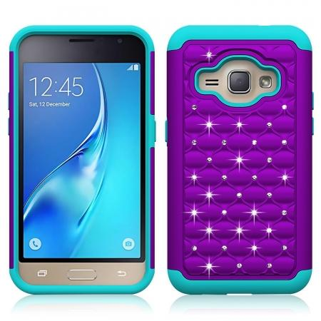 Hybrid Armor Dual Layer Diamond Protective Case for Samsung Galaxy AMP 2 / J1 (2016) - Purple&Cyan