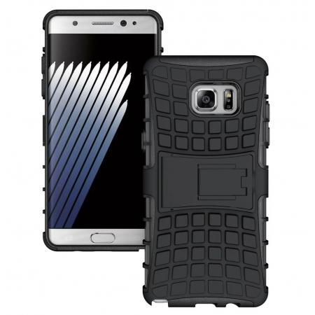 Hybrid Armor Tough Kickstand Phone Cover Case for Samsung Galaxy Note 7 / Note 6 Edge - Black